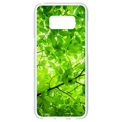 Green Wood The Leaves Twig Leaf Texture Samsung Galaxy S8 White Seamless Case