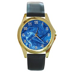 Abstract Pattern Texture Art Round Gold Metal Watch