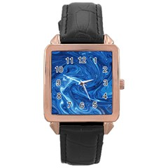 Abstract Pattern Texture Art Rose Gold Leather Watch