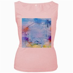 Background Art Abstract Watercolor Women s Pink Tank Top