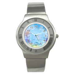 Background Art Abstract Watercolor Stainless Steel Watch