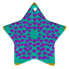 Raining Love And Hearts In The  Wonderful Sky Star Ornament (two Sides) by pepitasart