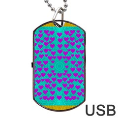 Raining Love And Hearts In The  Wonderful Sky Dog Tag Usb Flash (one Side) by pepitasart