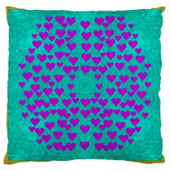 Raining Love And Hearts In The  Wonderful Sky Large Cushion Case (two Sides) by pepitasart
