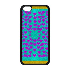 Raining Love And Hearts In The  Wonderful Sky Apple Iphone 5c Seamless Case (black) by pepitasart