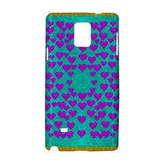 Raining Love And Hearts In The  Wonderful Sky Samsung Galaxy Note 4 Hardshell Case by pepitasart
