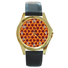 Black And Orange Diamond Pattern Round Gold Metal Watch by Fractalsandkaleidoscopes