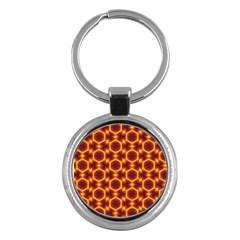 Black And Orange Diamond Pattern Key Chains (round)  by Fractalsandkaleidoscopes