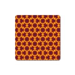 Black And Orange Diamond Pattern Square Magnet by Fractalsandkaleidoscopes
