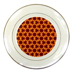 Black And Orange Diamond Pattern Porcelain Plates by Fractalsandkaleidoscopes