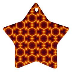Black And Orange Diamond Pattern Ornament (star) by Fractalsandkaleidoscopes