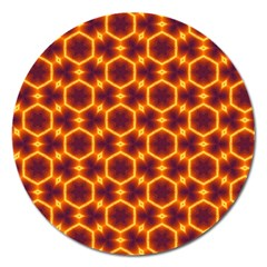 Black And Orange Diamond Pattern Magnet 5  (round) by Fractalsandkaleidoscopes