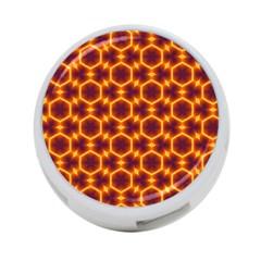 Black And Orange Diamond Pattern 4 Port Usb Hub (two Sides)  by Fractalsandkaleidoscopes