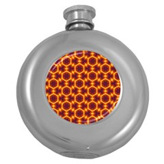 Black And Orange Diamond Pattern Round Hip Flask (5 Oz) by Fractalsandkaleidoscopes