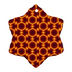 Black And Orange Diamond Pattern Ornament (snowflake) by Fractalsandkaleidoscopes