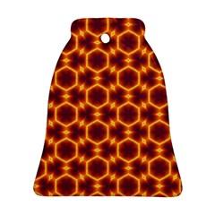 Black And Orange Diamond Pattern Ornament (bell) by Fractalsandkaleidoscopes