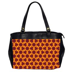 Black And Orange Diamond Pattern Office Handbags (2 Sides)  by Fractalsandkaleidoscopes