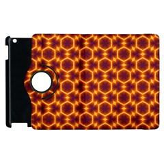 Black And Orange Diamond Pattern Apple Ipad 3/4 Flip 360 Case by Fractalsandkaleidoscopes