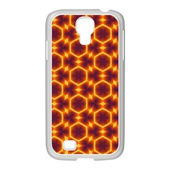 Black And Orange Diamond Pattern Samsung Galaxy S4 I9500/ I9505 Case (white) by Fractalsandkaleidoscopes