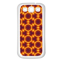Black And Orange Diamond Pattern Samsung Galaxy S3 Back Case (white) by Fractalsandkaleidoscopes