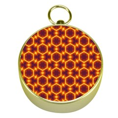 Black And Orange Diamond Pattern Gold Compasses by Fractalsandkaleidoscopes