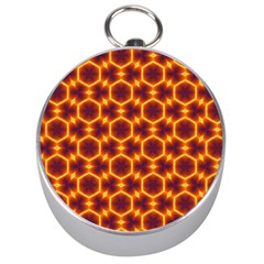 Black And Orange Diamond Pattern Silver Compasses by Fractalsandkaleidoscopes