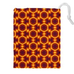 Black And Orange Diamond Pattern Drawstring Pouches (xxl) by Fractalsandkaleidoscopes