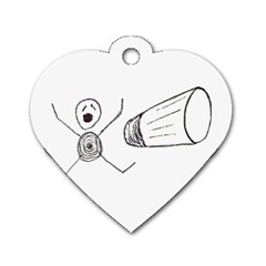 Violence Concept Drawing Illustration Small Dog Tag Heart (one Side) by dflcprints