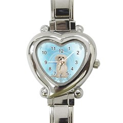 Cute Little Havanese Puppy Heart Italian Charm Watch by FantasyWorld7