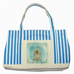 Cute Little Havanese Puppy Striped Blue Tote Bag by FantasyWorld7