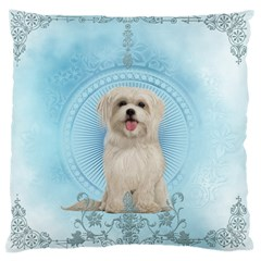 Cute Little Havanese Puppy Large Cushion Case (two Sides) by FantasyWorld7