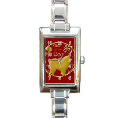 Year Of The Dog   Chinese New Year Rectangle Italian Charm Watch by Valentinaart
