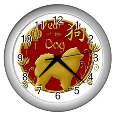 Year Of The Dog   Chinese New Year Wall Clocks (silver)  by Valentinaart