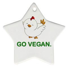 Go Vegan   Cute Chick  Star Ornament (two Sides) by Valentinaart