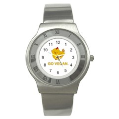 Go Vegan   Cute Chick  Stainless Steel Watch by Valentinaart
