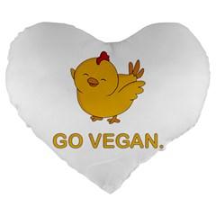 Go Vegan   Cute Chick  Large 19  Premium Heart Shape Cushions by Valentinaart