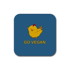 Go Vegan   Cute Chick  Rubber Square Coaster (4 Pack)  by Valentinaart