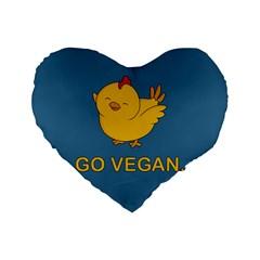 Go Vegan   Cute Chick  Standard 16  Premium Heart Shape Cushions by Valentinaart