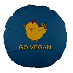 Go Vegan   Cute Chick  Large 18  Premium Flano Round Cushions by Valentinaart