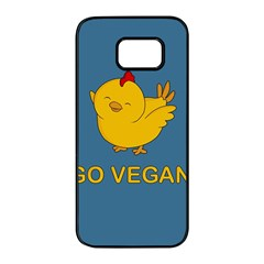 Go Vegan   Cute Chick  Samsung Galaxy S7 Edge Black Seamless Case by Valentinaart