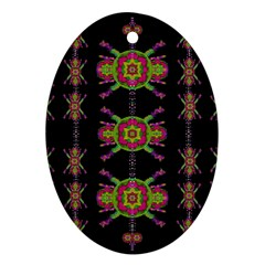 Paradise Flowers In A Decorative Jungle Oval Ornament (two Sides) by pepitasart