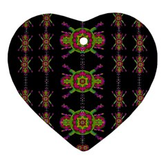 Paradise Flowers In A Decorative Jungle Heart Ornament (two Sides) by pepitasart