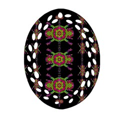 Paradise Flowers In A Decorative Jungle Oval Filigree Ornament (two Sides) by pepitasart