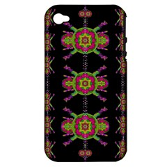 Paradise Flowers In A Decorative Jungle Apple Iphone 4/4s Hardshell Case (pc+silicone) by pepitasart