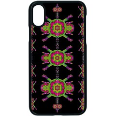 Paradise Flowers In A Decorative Jungle Apple Iphone X Seamless Case (black) by pepitasart