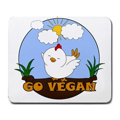 Go Vegan   Cute Chick  Large Mousepads by Valentinaart