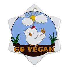 Go Vegan   Cute Chick  Snowflake Ornament (two Sides) by Valentinaart