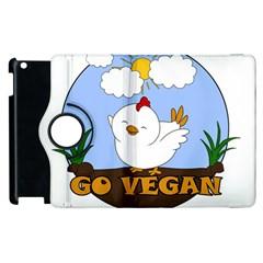Go Vegan   Cute Chick  Apple Ipad 2 Flip 360 Case by Valentinaart