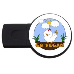 Go Vegan   Cute Chick  Usb Flash Drive Round (2 Gb) by Valentinaart