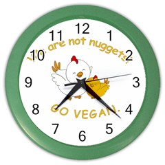 Go Vegan   Cute Chick  Color Wall Clocks by Valentinaart